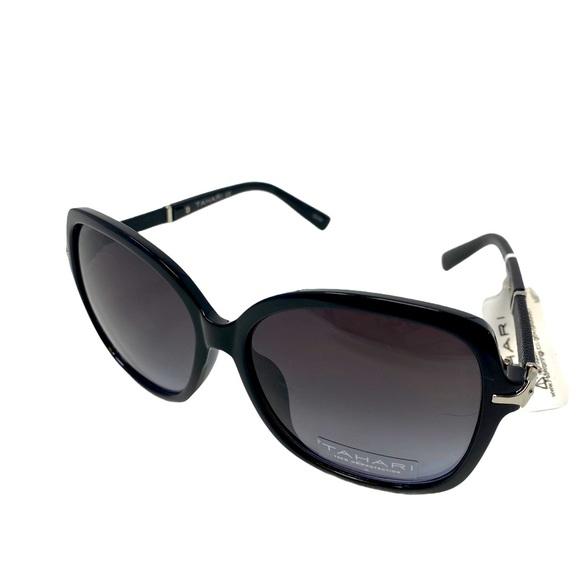 TAHARI Women's Black Rectangular-Shaped Sunglasses
